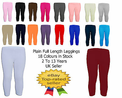 Girls Kids School PE Dance Plain Stretch Legging Harem Pant Black Red White 7-13