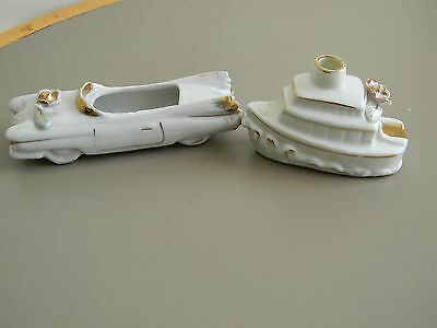 Porcelain Car Planter and Boat Ashtray- Rose Petal- Japan - Vintage
