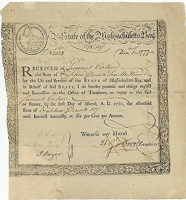 *RARE*State of Massachusetts Bay State Treasury Certificate Dec.1,1777 18 Pounds