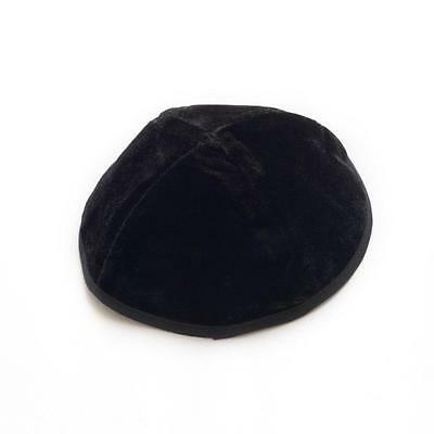 Simple Black Velvet Yarmulke Kippah 20 cm Cupples Jewish Kippa Hat Judaica Kipa