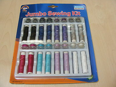 32 Piece Colour Cotton / Polyester Sewing Machine Thread + Bobbins Set