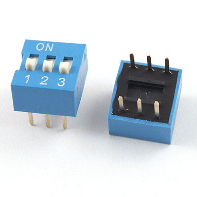 10 Pcs 2.54mm Pitch 3 Position Slide Type DIP Switch Blue