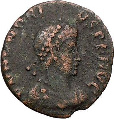 HONORIUS crowned by VICTORY Arcadius brother 395AD Ancient Roman Coin i25633
