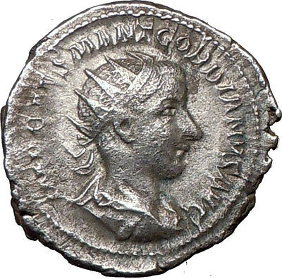GORDIAN III sacrificing over altar 240AD  Silver Ancient Roman Coin  i20185