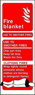 Fire Blanket ID warning safety sticker sign self adhesive vinyl