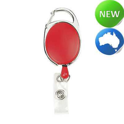 Retractable Office ID Card Badge Reel C/Clip Red (Carabiner Style Clip)