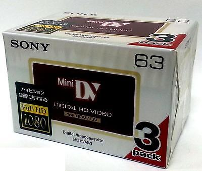 3 Sony HD HDV tape DVM-63HD Mini DV 4 HDR-HC9 camcorder tapes