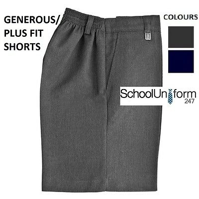 Boys Large Size Generous Plus Fit Elastic School Shorts Grey Navy 4 to 16 years.