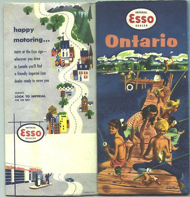 1957 Esso  Ontario Vintage Road Map / Nice Cover Graphics !!
