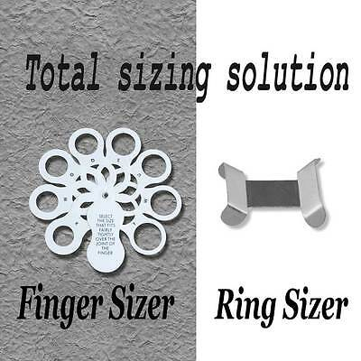 Sterling 925 Silver Ring Clip Size Adjuster Reducer Resizer + Finger Ring Sizer