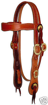 Harness leather Old Timer western bridle headstall custom quality USA brass H270
