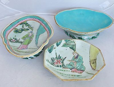 "3 Assorted Antique Chinese Famille Rose Chop Suey Footed Bowls w/ Scholars  (9"")"