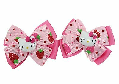 Brand new SANRIO HELLO KITTY Cute Strawberry Pink double Bow Hair Clips (2 pcs)