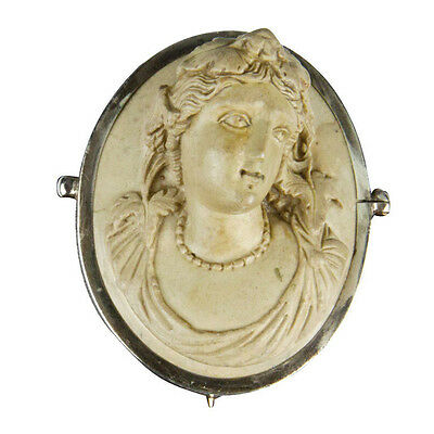 Hand Carved Antique Lava Cameo Pin Brooch and Cuff Bracelet