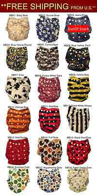 You Pick 5 MiniBums Bamboo Cloth Diapers (Covers+5 inserts) FRESHIP