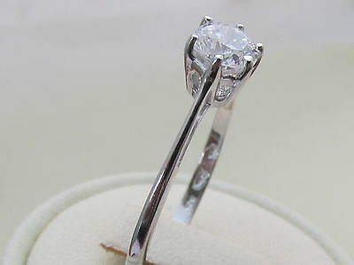 925 Sterling Silver white sapphire Solitaire Engagement / Dress  Ring 1/2ct