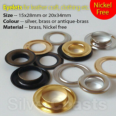 Large Eyelets Leather Craft Sewing Big Grommet Solid Brass Nickel Free 15, 20mm