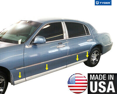 10-19 Ford Taurus 8Pc Chrome Flat Lower Body Side Molding Trim Door Accent Cover