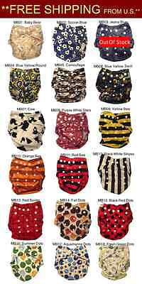 You Pick 17 MiniBums Bamboo Cloth Diapers: (Covers +17 Bamboo inserts) FreeShip