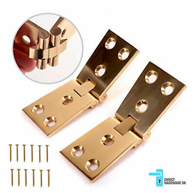 "Solid Polished Brass Bar Flap /Counterflap Hinges 102mm x 32mm (4"" x 1 1/4"") 3mm"