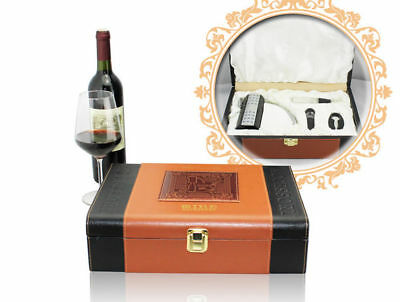 Deluxe Wine Accessory PU Leather Gift Set S/4 – Model AUS10