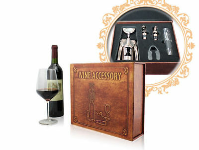 Deluxe Wine Accessory Leather Gift Set S/5 – Model AUS11