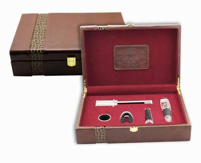 Deluxe Wine Accessory PU Leather Gift Set S/5 – Model AUS28