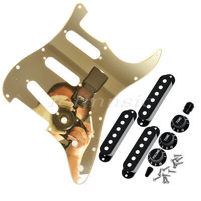 Gold Mirror Guitar Pickguard Black Pickup Covers Knobs for Strat US Standard