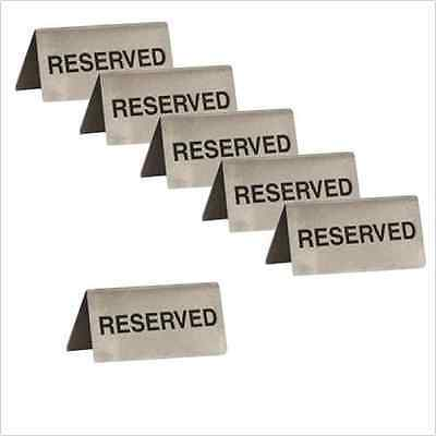 RESERVED Table Sign x 6 Stainless Steel