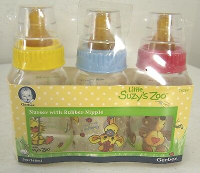 NIB Gerber Little Suzy's Zoo Nurser 5-oz Baby Bottles with Rubber Nipple 3-Pack