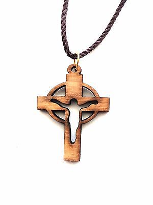 Olive Wood Cross Open Crucifix pendant from Holy Land HL004