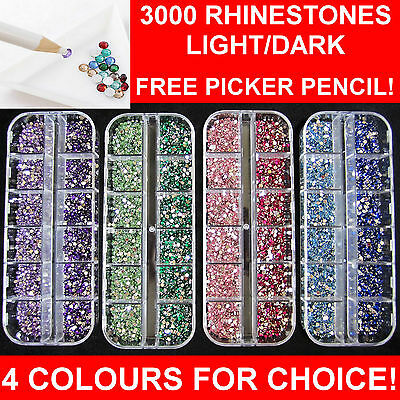 3000pcs 2mm RHINESTONES GEM CRYSTAL DIAMOND 4 DIFFERENT KINDS FREE PICKER PENCIL