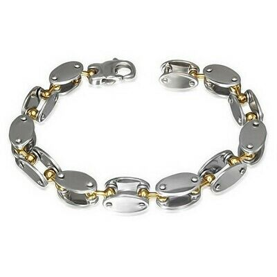 Stainless Steel Silver Yellow Gold Two-Tone Mens Oval Links Chain Bracelet