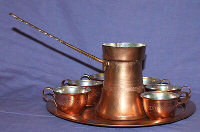 Vintage hand made copper serving coffee set pot, 6 cups and tray