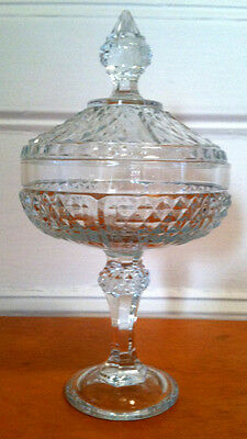 IMPORTED ANTIQUE style PRESSED GLASS VASE by PASABAHCE