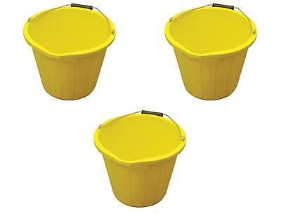 Pack Of 3  3 Gallon Yellow Bucket / Buckets Containers (Made In Uk )