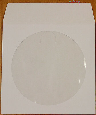 500 Count White CD DVD Video Game Paper Sleeve Envelope With Window Flap 80g
