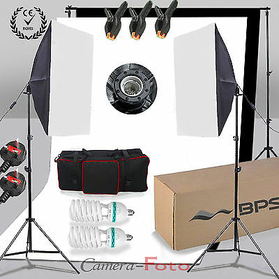 Photo Studio Background Stand & White Black Backdrop Screen Softbox Lighting Kit