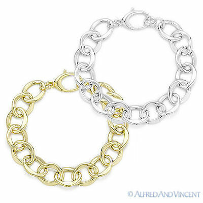 Solid Sterling Silver Fancy Cable Link Women's Fashion Chain Bracelet 925 Italy