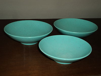 3 Vintage Holiday by Kenro Aqua Speckled Bowls - From Fredonia, Wisconsin