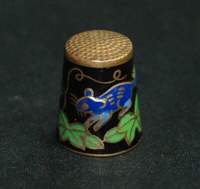 Collectible Metal Blue Mouse Green Leaves Red Cherries Balck Thimble