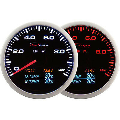 DEPO racing 60mm Smoked Oil Pressure Volt Oil Temp&Water Temp Gauge LED 4 in 1