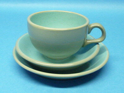 Vintage Retro Blue Harkerware Stone China 3 Piece Cup Saucer Set 1950s