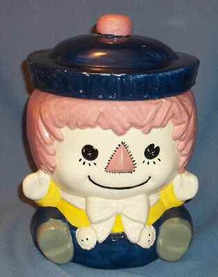 """RAGGEDY  ANDY  COOKIE JAR,  MARKED """" 78""""  OLD  FASHIONED  LOOK."""