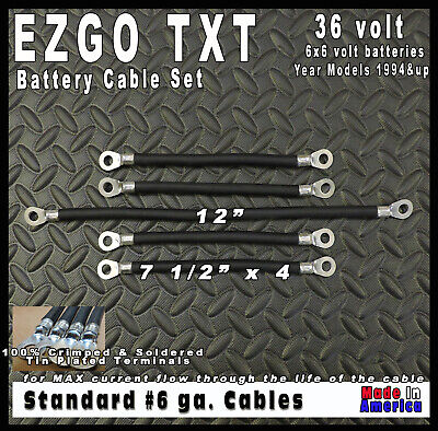 **SOLDERED ENDS**   EZGO TXT 36 Volt Golf Cart Battery Cable 6 gauge Wiring Set