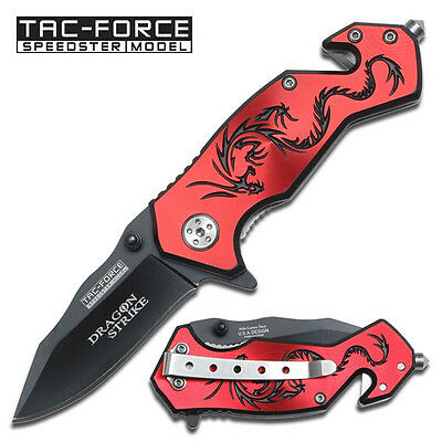 """TAC FORCE  Red """"Dragon Strike"""" Rescue Spring Assisted Knife"""