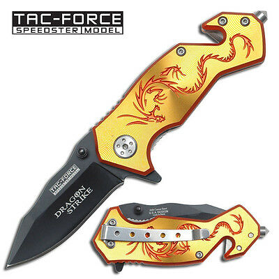"""TAC FORCE  Yellow """"Dragon Strike"""" Rescue Spring Assisted Knife"""