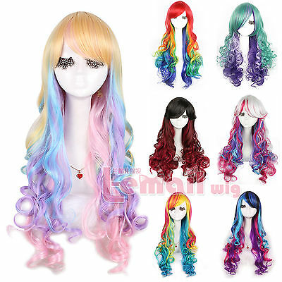 70cm Womens Long Rainbow Zipper Multi-color Layer Natural Wave Hair Cosplay Wigs