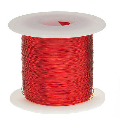 "32 AWG Gauge Enameled Copper Magnet Wire 1.0 lbs 5003' Length 0.0087"" 155C Red"