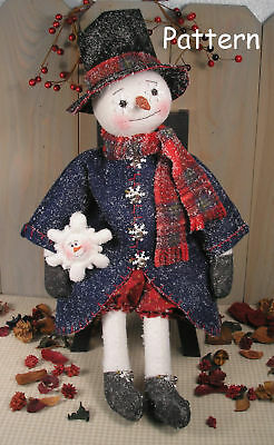 Primitive Raggedy Snowman Christmas Holiday Winter Sew Craft Paper Pattern #39